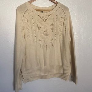 Cream Roxy Cable Knit Sweater